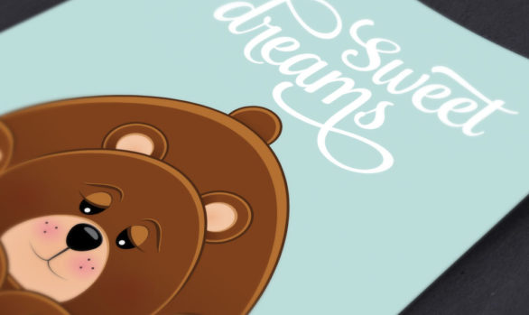 Sweet Dreams Sleepy Bear Print: Instant Download