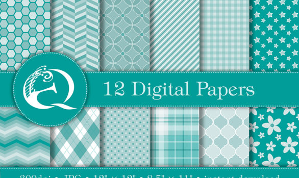 Modern Teal Digital Paper: Instant Download