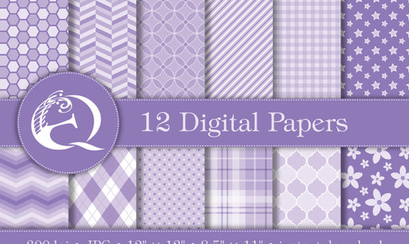 Modern Purple Digital Paper: Instant Download