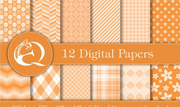 Modern Orange Digital Paper: Instant Download