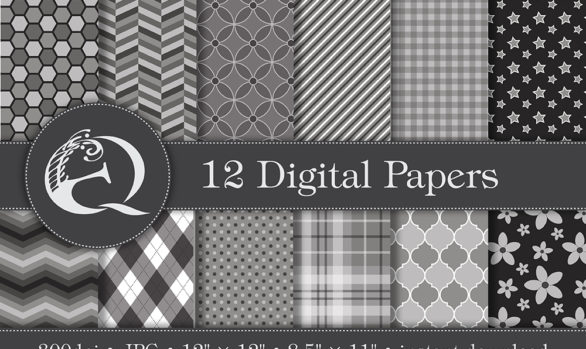 Modern Grey Digital Paper: Instant Download