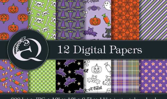 Halloween Digital Paper: Instant Download